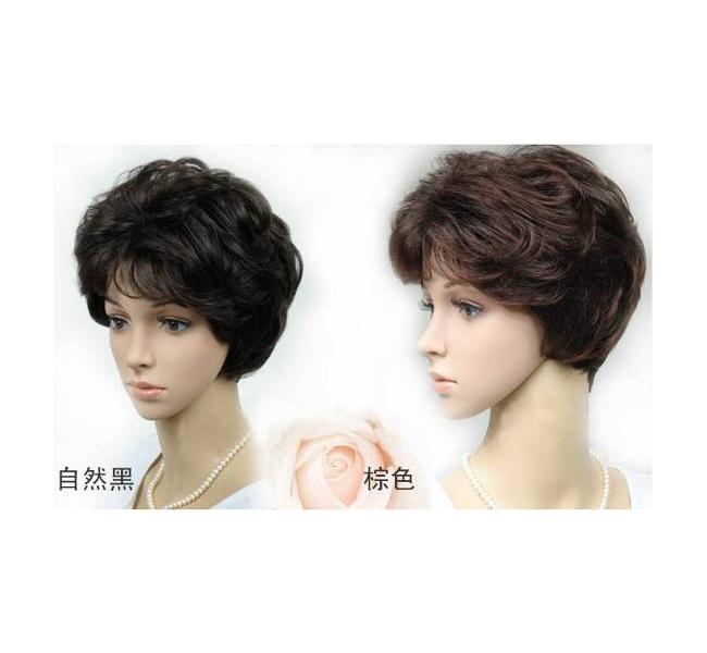 中年女士假发 中老年卷发 短卷发 中老年假发短发图片
