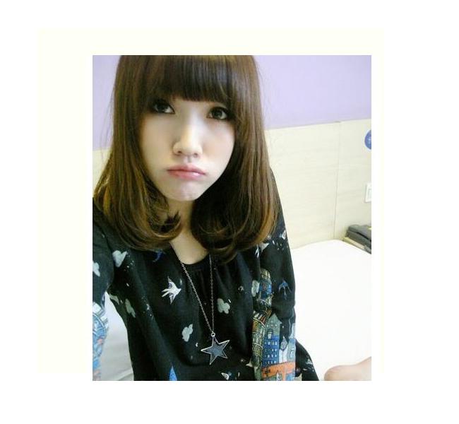 日韩潮流 个性新款 梨花头 假发 直发 中长发 齐刘海图片